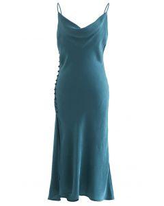 Buttoned Side Split Hem Satin Cami Dress in Emerald