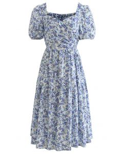 Cross Front Cutout Back Floral Cotton Dress in Blue