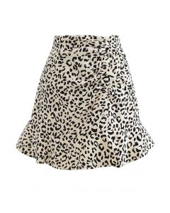 Leopard Frill Hem Ruched Front Mini Skirt in Cream