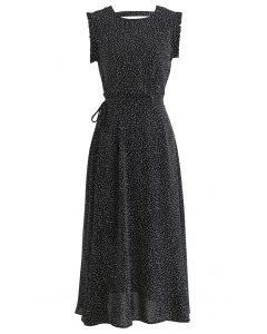 Ruffle Detailing Dotted Sleeveless Top and Flare Skirt Set in Black