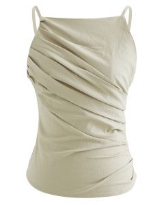 Slant Pleated Fitted Cami Top in Linen