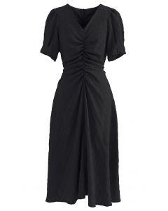 Embossed Diamond Ruched Midi Dress in Black