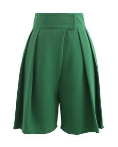High-Rise Tab Waist Tailored Shorts in Green