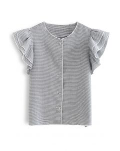 Flutter Sleeve Button Front Textured Top in Grey