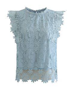 Full Embroidered Cochet Sheer Sleeveless Top in Blue