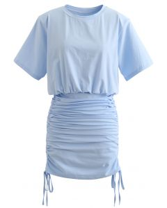 Pad Shoulder Crop Top and Drawstring Skirt Set in Blue