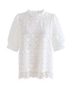 Daisy Land Full Crochet Top in White