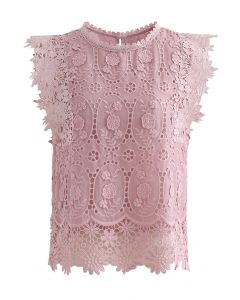 Full Embroidered Cochet Sheer Sleeveless Top in Pink