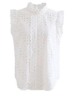 High Neck Eyelet Embroidered Sleeveless Top in White
