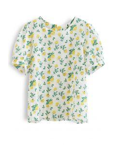 Yellow Posy Short Sleeve Embossed Top