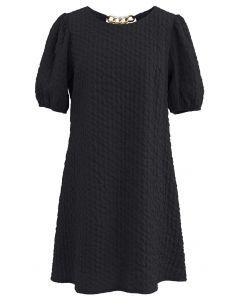 Golden Chain Detail Embossed Mini Dress in Black