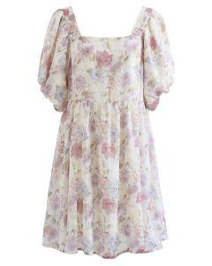 Square Neck Bubble Sleeve Jacquard Dolly Dress