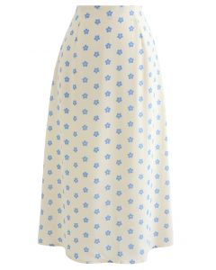 Daisy Print High-Waisted A-Line Midi Skirt in Cream