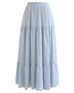 Embroidered Floret Frilling Cotton Skirt in Light Blue