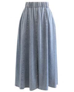 Front Slit Side Pocket Denim Midi Skirt in Washed Blue