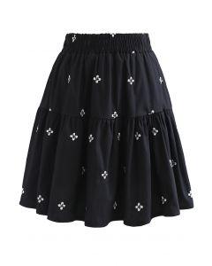 Clover Embroidered Frilling Mini Skirt in Black