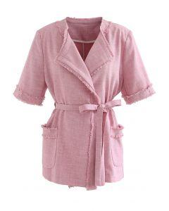 Fringed Self-Tie Short Sleeve Blazer in Pink