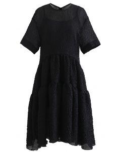 Frilling Embossed Glittery Sheer Dolly Dress in Black