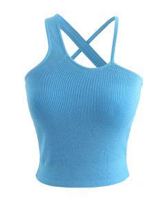 Strappy Knit Bra Top in Blue