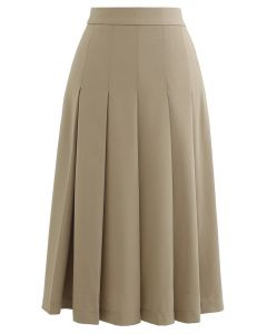 Pleated Flare Hem Midi Skirt in Ginger