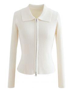 Collared Zipper Rib Knit Crop Top in Ivory