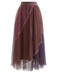 Double-Layered Color Block Mesh Tulle Midi Skirt in Brown