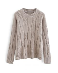 Braid Fuzzy Knit Sweater in Taupe