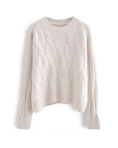 Braid Fuzzy Knit Sweater in Ivory