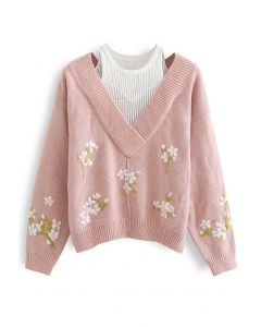 Fake Two-Piece Stitched Flower Knit Sweater