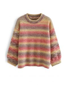 Oversized Ombre Striped Knit Sweater in Hot Pink