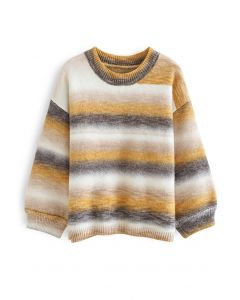 Oversized Ombre Striped Knit Sweater in Mustard