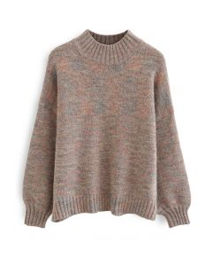 High Neck Colored Fuzzy Knit Sweater