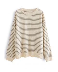 Round Neck Striped Oversize Knit Sweater