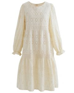 Floret Eyelet Embroidered Dress in Cream