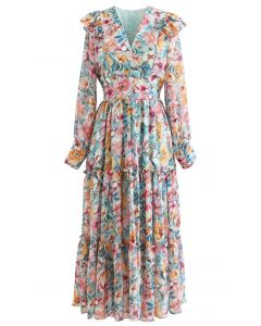 Colorful Floral Ruffle Chiffon Dress