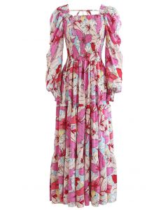 Lily Print Bubble Sleeve Maxi Dress in Pink