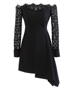 Lace Sleeves Off-Shoulder Asymmetric Flare Dress
