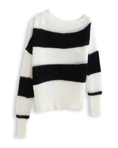 Oblique Shoulder Oversize Striped Sweater in White