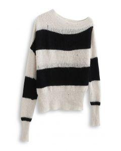 Oblique Shoulder Oversize Striped Sweater in Light Tan