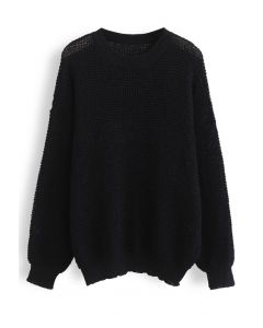 Oversize Hollow Out Knit Sweater in Black
