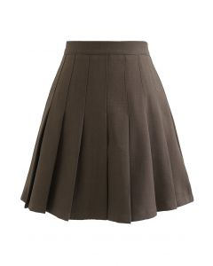 High Waist Pleated Mini Skirt in Brown
