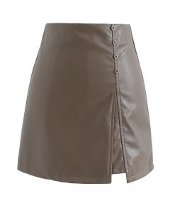 Polished Button Trim Faux Leather Bud Skirt in Brown