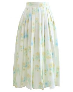 Floral Print Pleated Midi Skirt in Yellow