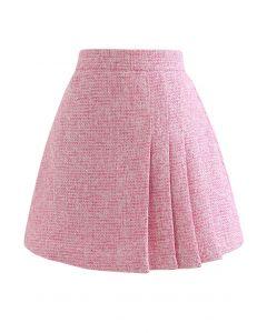 Shimmer Metallic Pleated Tweed Mini Skirt in Hot Pink