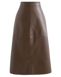 Raw-Cut Hem Faux Leather Pencil Skirt in Brown