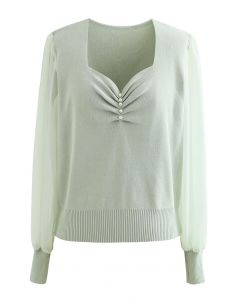 Sweetheart Neck Pearly Spliced Knit Top in Mint