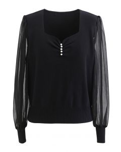 Sweetheart Neck Pearly Spliced Knit Top in Black