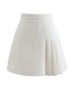 Shimmer Metallic Pleated Tweed Mini Skirt in Cream