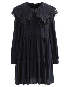 Peter Pan Collar Embroidered Mini Dolly Dress in Black