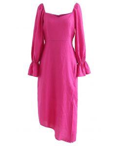 Sweetheart Neck Asymmetric Split Dress in Hot Pink